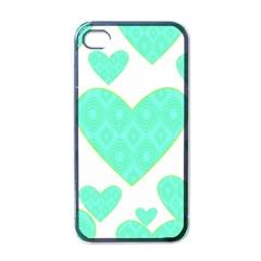 Green Heart Pattern Apple Iphone 4 Case (black)