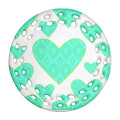 Green Heart Pattern Round Filigree Ornament (two Sides)