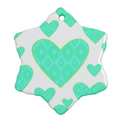 Green Heart Pattern Snowflake Ornament (Two Sides)
