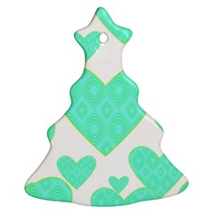 Green Heart Pattern Christmas Tree Ornament (two Sides)