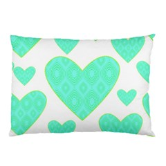 Green Heart Pattern Pillow Case (two Sides)