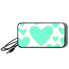 Green Heart Pattern Portable Speaker (black)