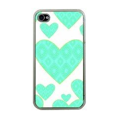 Green Heart Pattern Apple Iphone 4 Case (clear)