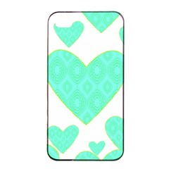 Green Heart Pattern Apple Iphone 4/4s Seamless Case (black)