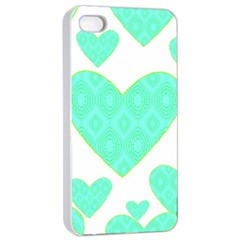 Green Heart Pattern Apple Iphone 4/4s Seamless Case (white)