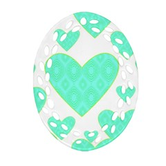 Green Heart Pattern Ornament (oval Filigree)