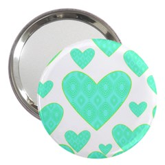Green Heart Pattern 3  Handbag Mirrors