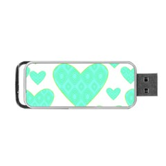 Green Heart Pattern Portable Usb Flash (two Sides)