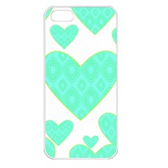 Green Heart Pattern Apple Iphone 5 Seamless Case (white)