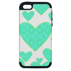 Green Heart Pattern Apple Iphone 5 Hardshell Case (pc+silicone)