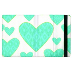 Green Heart Pattern Apple Ipad 3/4 Flip Case