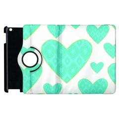 Green Heart Pattern Apple Ipad 3/4 Flip 360 Case