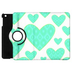 Green Heart Pattern Apple Ipad Mini Flip 360 Case