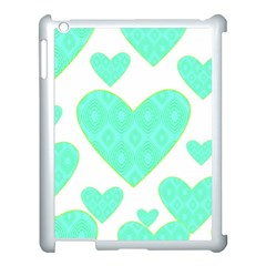 Green Heart Pattern Apple Ipad 3/4 Case (white)