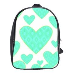 Green Heart Pattern School Bags (xl)