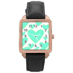 Green Heart Pattern Rose Gold Leather Watch
