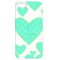 Green Heart Pattern Apple Iphone 5 Hardshell Case With Stand