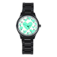 Green Heart Pattern Stainless Steel Round Watch