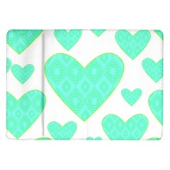 Green Heart Pattern Samsung Galaxy Tab 10 1  P7500 Flip Case
