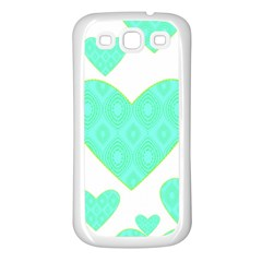 Green Heart Pattern Samsung Galaxy S3 Back Case (White)