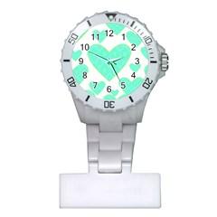 Green Heart Pattern Plastic Nurses Watch