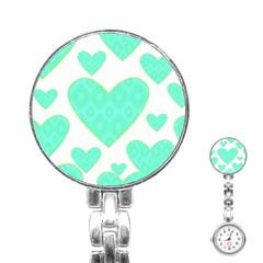 Green Heart Pattern Stainless Steel Nurses Watch