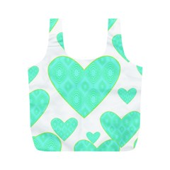 Green Heart Pattern Full Print Recycle Bags (m)