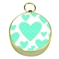 Green Heart Pattern Gold Compasses