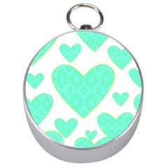 Green Heart Pattern Silver Compasses