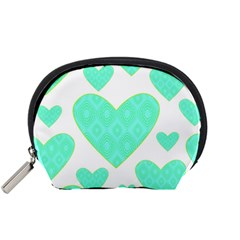 Green Heart Pattern Accessory Pouches (small)