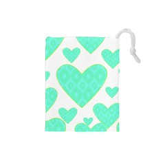 Green Heart Pattern Drawstring Pouches (small)