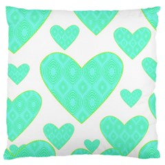 Green Heart Pattern Standard Flano Cushion Case (two Sides)