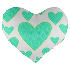 Green Heart Pattern Large 19  Premium Flano Heart Shape Cushions