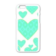 Green Heart Pattern Apple Iphone 6/6s White Enamel Case