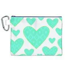 Green Heart Pattern Canvas Cosmetic Bag (xl)