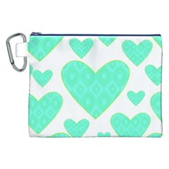 Green Heart Pattern Canvas Cosmetic Bag (xxl)