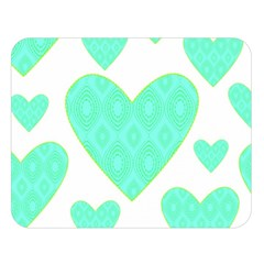 Green Heart Pattern Double Sided Flano Blanket (large)
