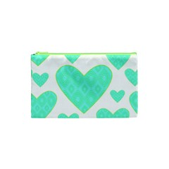 Green Heart Pattern Cosmetic Bag (xs)