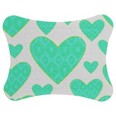 Green Heart Pattern Jigsaw Puzzle Photo Stand (bow)