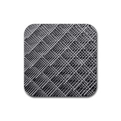Grid Wire Mesh Stainless Rods Rods Raster Rubber Coaster (square)
