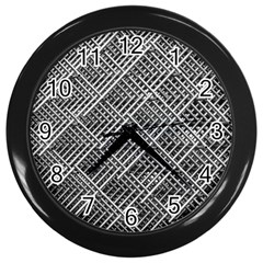 Grid Wire Mesh Stainless Rods Rods Raster Wall Clocks (black)