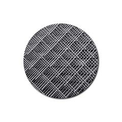 Grid Wire Mesh Stainless Rods Rods Raster Rubber Coaster (round)
