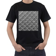 Grid Wire Mesh Stainless Rods Rods Raster Men s T Shirt (black) (two Sided)