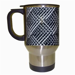 Grid Wire Mesh Stainless Rods Rods Raster Travel Mugs (white)