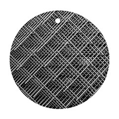 Grid Wire Mesh Stainless Rods Rods Raster Round Ornament (two Sides)
