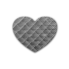 Grid Wire Mesh Stainless Rods Rods Raster Rubber Coaster (heart)