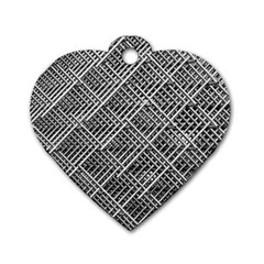 Grid Wire Mesh Stainless Rods Rods Raster Dog Tag Heart (one Side)