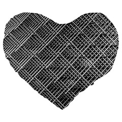 Grid Wire Mesh Stainless Rods Rods Raster Large 19  Premium Heart Shape Cushions