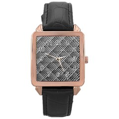 Grid Wire Mesh Stainless Rods Rods Raster Rose Gold Leather Watch