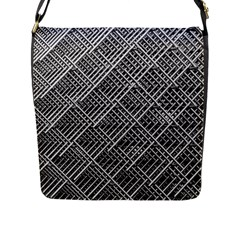 Grid Wire Mesh Stainless Rods Rods Raster Flap Messenger Bag (l)